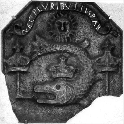 Inv.-Nr. 114   Dauphin von Frankreich (Ludwig XIV.), Kaminplatte 48 x 47 cm, Lothringen 2. H. 17. Jh.
