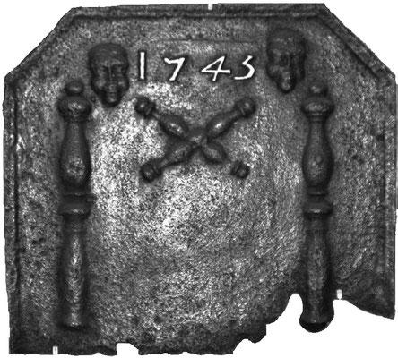 Inv.-Nr. 274   Säulen der Standhaftigkeit, Kaminplatte 57 x 50 cm, Lothringen, dat. 1745