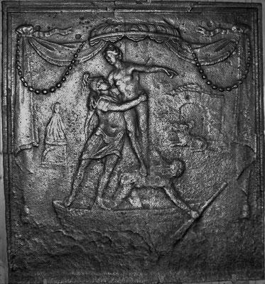 Inv.-Nr. 310   Raub der Persephone, Kaminplatte 60 x 64 cm, Lothringen, 2. H. 18. Jh.