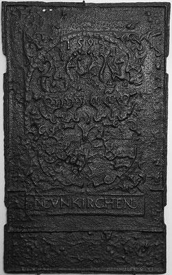 Inv.-Nr. 20   Allianzwappen Nassau-Saarbrücken-Hessen,  Ofenplatte 55 x 90 cm, Neunkirchen, dat. 1595