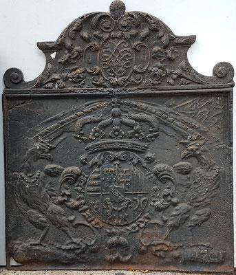 Inv.-Nr. 476  Wappen Herzogtum Lothringen (Leoplold I.), Kaminplatte xx x xx cm, Quint, dat. 1701
