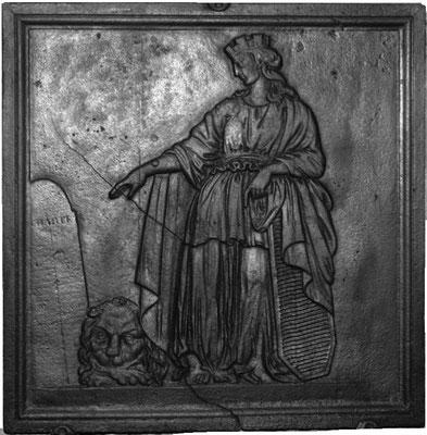 Inv.-Nr. 289   Athene, Kaminplatte  65 x 67 cm, Lothringen, 2. H. 118. Jh.