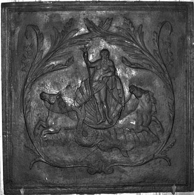 Inv.-Nr. 311   Poseidon, Kaminplatte 83 x 83 cm, Lothringen, 18./19. Jh.
