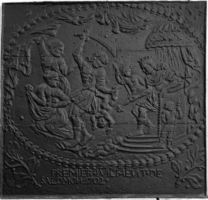 Inv.-Nr. 183   Das Urteil Salomon,  Kaminplatte 80 x 77 cm, Eisenschmitt (?), dat. 1702
