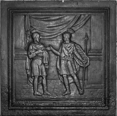 Inv.-Nr. 343   Zwei Krieger, Kaminplatte 55 x 54 cm, Lothringen, 1. H. 19. Jh.