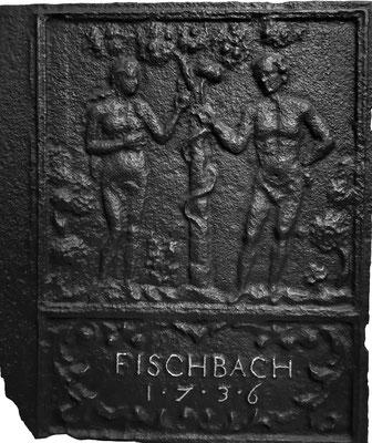 Inv.-Nr. 148   Adam und Eva, Ofenplatte 48 x 58 cm, Fischbach, dat. 1736