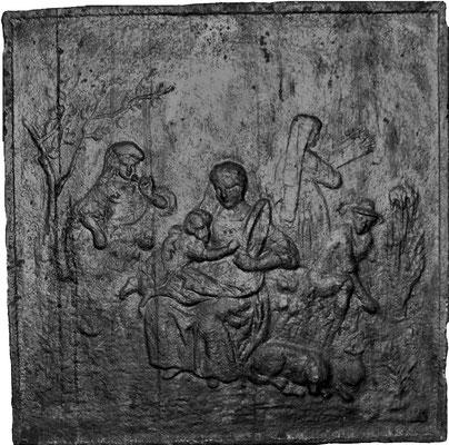 Inv.-Nr. 377   Auf dem Feld  Kaminplatte, 60 x 60 cm, Lothringen, 1.H. 19. Jh.