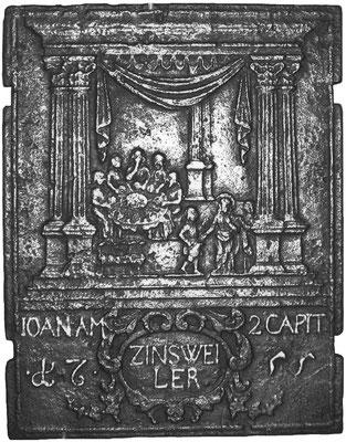 Inv.-Nr. 225   Hochzeit zu Kana, Ofenplatte 47 x 61 cm, Zinsweiler, dat. 1755