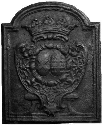 Inv.-Nr. 95   Hochzeitswappen Graf Charles-Francois de Broglie - Louise Augustine de Montmorency,  Kaminplatte 58 x 68 cm, Lothringen, ab 1762