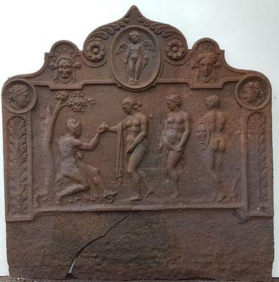 Inv.-Nr. 475  Das Urteil des Paris, Kaminplatte 90 x 88 cm, Lothringen, 1.H. 18. Jh.