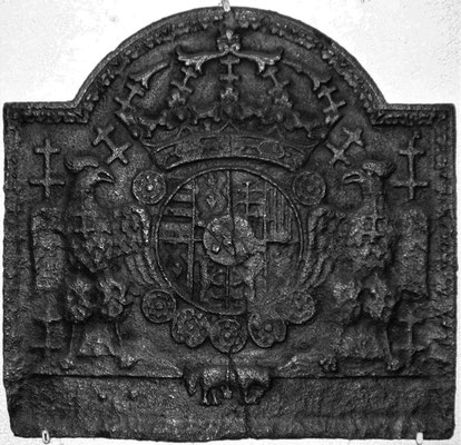 Inv.-Nr. 80   Wappen Herzogtum Lothringen (Leopold I.),  Kaminplatte 54 x 53 cm, Lothringen, um 1700