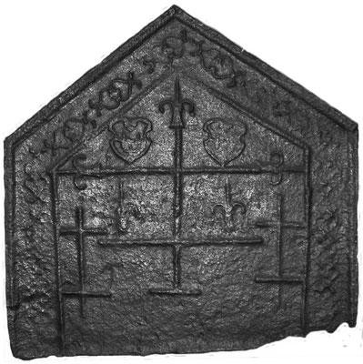 Inv.-Nr. 13   Wappenkomposition Lothringen-Frankreich -  ?, Kaminplatte, 65 x 65 cm, Cousance, 1. H. 16. Jh.