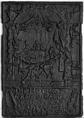 Inv.-Nr. 212   Hochzeit zu Kana, Ofenplatte 44 x 63 cm, Saarland, 1. H. 18. Jh.