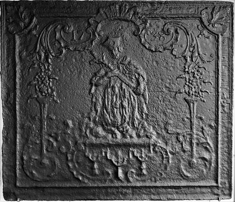 Inv.-Nr. 134   Hl. Nepomuk, Kaminplatte 79 x 68 cm, Dillingen, dat. 1738