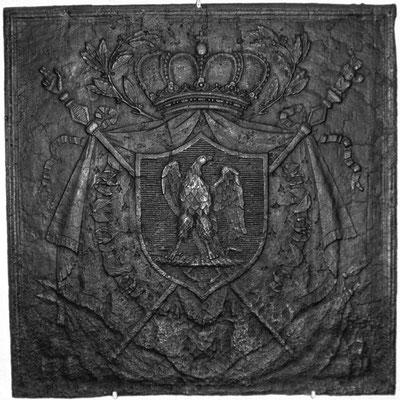 Inv.-Nr. 123   Wappen Französisches Kaiserreich,  Kaminplatte 80 x 80 cm, Lothringen, 1804-1814