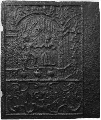 Inv.-Nr. 382   Tanzpaar, Ofenplatte xx x xx cm, St. Ingbert, dat. 1740