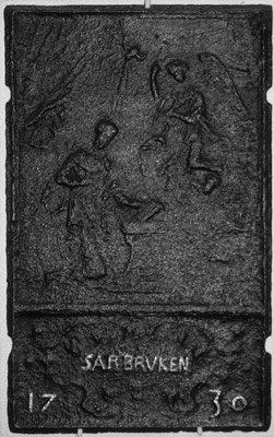 Inv.-Nr. 197   Mariä Verkündigung, Ofenplatte 34 x 75 cm, Saarland, dat. 1730