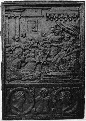 Inv.-Nr. 184   Das Urteil Salomons, Ofenplatte 49 x 70 cm, Eisenschmitt (?), 1. H. 16. Jh.