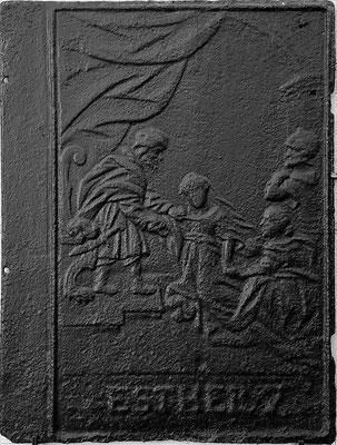 Inv.-Nr. 193  Ahasver (Xerxes)  verzeiht Ester, Ofenplatte 51 x 67 cm, Saarland (?), 1. H. 18. Jh.