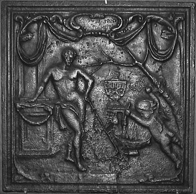 Inv.-Nr. 246   Allegorie des Winters, Kaminplatte 64 x 64 cm, Lothringen, 1. H. 18. Jh.