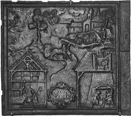 Inv.-Nr. 240   Darstellung der Eisengewinnung und -verarbeitung, Ofenplatte 90 x 80 cm, Südpfalz (?), um 1700