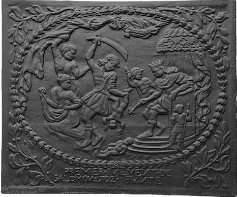 Inv.-Nr. 407   Das Urteil Salomons  Kaminplatte, 107 x 90 cm, Quint, dat. 1702