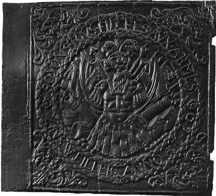 Inv.-Nr. 268   Kriegsallegorie SOYONS TOVS FIDELS AVX ARMES - ZINSWEILLER ANNO 1770,  Ofenplatte 78 x 72 cm, Zinsweiler, dat. 1760