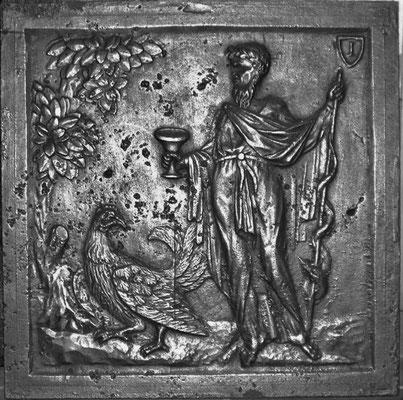 Inv.-Nr. 330   Zeus und Ganymed, Kaminplatte 49 x 49 cm, Hayange, 2. H. 18. Jh.