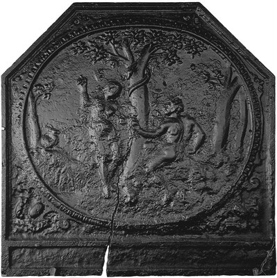 Inv.-Nr. 144   Adam und Eva, Kaminplatte 77 x 77 cm, Lothringen, 1. H. 16. Jh.
