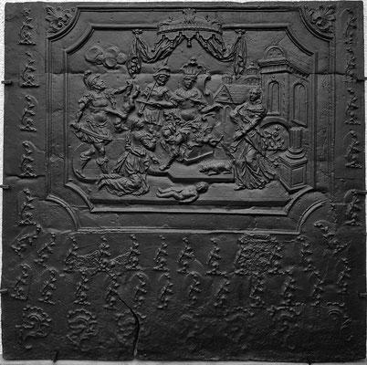 Inv.-Nr. 179   Das Urteil Salomons, Kaminplatte 131 x 129 cm, Saarland, 1. H. 18. Jh.