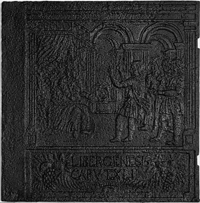 Inv.-Nr. 168   Josef deutet den Traum des Pharao, Ofenplatte 60 x 61 cm, Zinsweiler, um 1800
