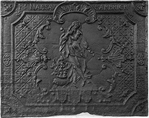 Inv.-Nr. 254   Allegorie des Winters, Kaminplatte 73 x 67 cm, Saarland, um 1730/40