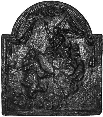 Inv.-Nr. 198   Mariä Verkündigung, Ofenplatte 52 x 60 cm, Lothringen, 1. H. 18. Jh.