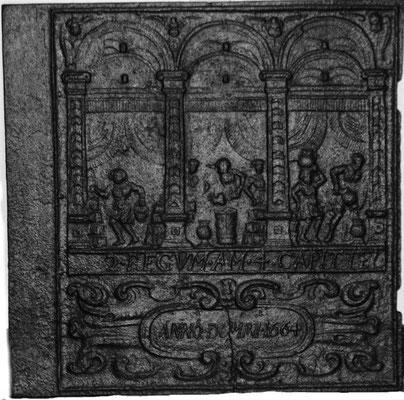 Inv.-Nr. 188   Das Ölwunder des Elisäus, Ofenplatte 66 x 64 cm, Lahngebiet, dat. 1664