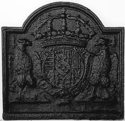 Inv.-Nr. 79   Wappen Herzogtum Lothringen (Leopold I.),  Kaminplatte 54 x 53 cm, Lothringen, um 1700