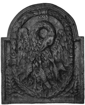 Inv.-Nr. 259   Allegorie der Liebe - Pelikan, Kaminplatte 75 x 62 cm, Lothringen, 18. Jh.