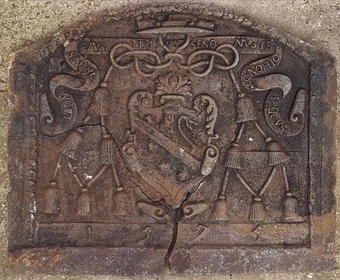 Inv.-Nr. 486  Wappen Leonard Waltrin, Kaminplatte, xx x xx cm, dat. 1575
