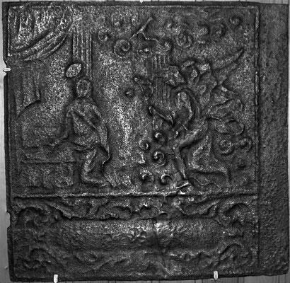 Inv.-Nr. 195   Mariä Verkündigung, Ofenplatte 51 x 67 cm, Altleiningen, um 1740