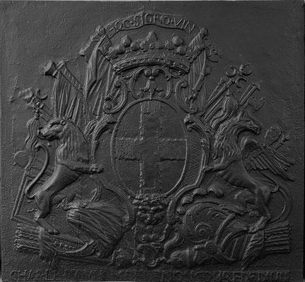 Inv.-Nr. 50   Wappen Charles Louis Henri de Lenoncourt,  Kaminplatte 80 x 77 cm, Dillingen, 1. H. 18. Jh.
