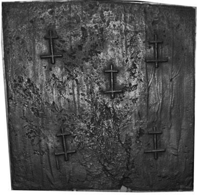 Inv.-Nr. 12   Lothringer Kreuz, Kaminplatte 90 x 100 cm, Lothringen, 1. H. 16. Jh.
