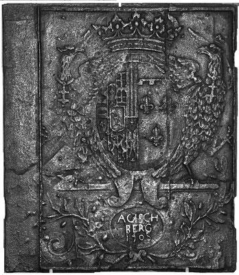 Inv.-Nr. 90   Allianzwappen Lothringen(Lepold I.) - Orleans (Elisabeth-Charlotte von Orleans),  Ofenplatte 61 x 70 cm, Gaisberg, dat. 1705
