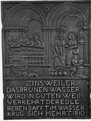 Inv.-Nr. 226   Hochzeit zu Kana, Ofenplatte 51 x 69 cm, Zinsweiler, dat. 1810