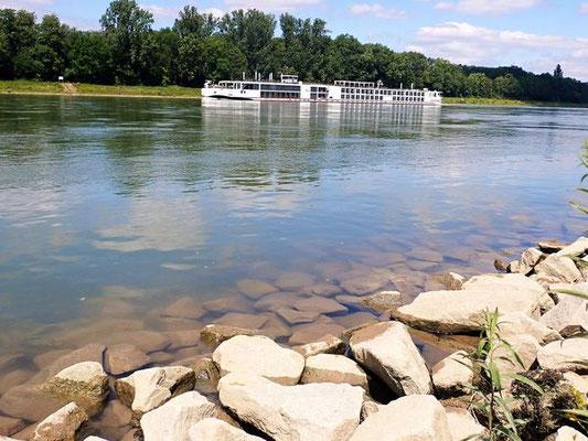 Rheinufer mit Hotelschiff