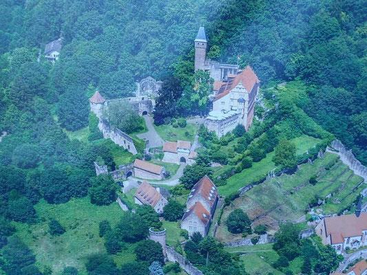 Ein Plakat Schlossanlage aus der Luft