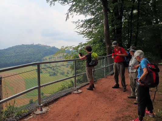 Die neue Absperrung über dem Schwalbennest mit Blick auf den Dilsberg