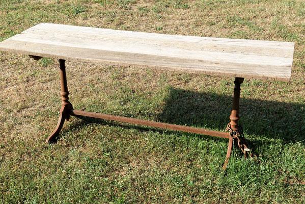"""T60 Tischplatte (Bongossi/ """"Eisenholz""""), Tischuntergestell Grauguß siehe unten, Maße auf Kundenwunsch, Preis nach Größe"""
