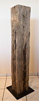 O111 Stehle Tanne/Fichte natur, Oberseite geschliffen, auf Stahlplatte 300x300mm, Höhe ab 1120mm