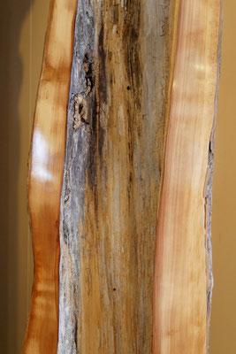 L19 Baum-Lampe Birne, Schnittkante geschliffen und poliert, Sockel mit Metallplatte und integrierter Beleuchtung, H 2070 x B 380x380 mm