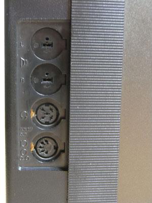 Anschlußmöglichkeiten für externe Lautsprecher, Kopfhörer und AUX (Tonband, Tonabnehmer und Mikrofon)