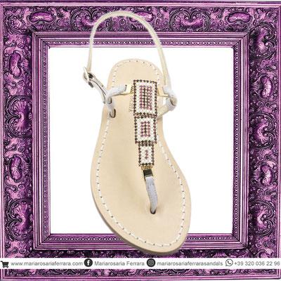 Sandali artigianali modello dafne lilla e rosa